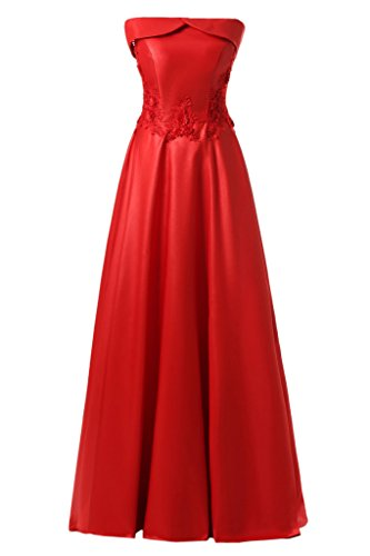 ivyd ressing semplice scollo a U da donna pizzo Applikation Satin party festa Prom abito abito sera vestito Rot 44