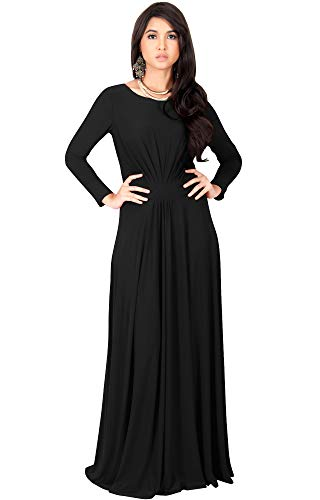 KOH KOH Plus Size Womens Long Full Sleeve Sleeves Flowy Empire Waist Fall Winter Modest Formal Floor Length Abaya Muslim Gown Gowns Maxi Dress Dresses, Black 3XL 22-24]()