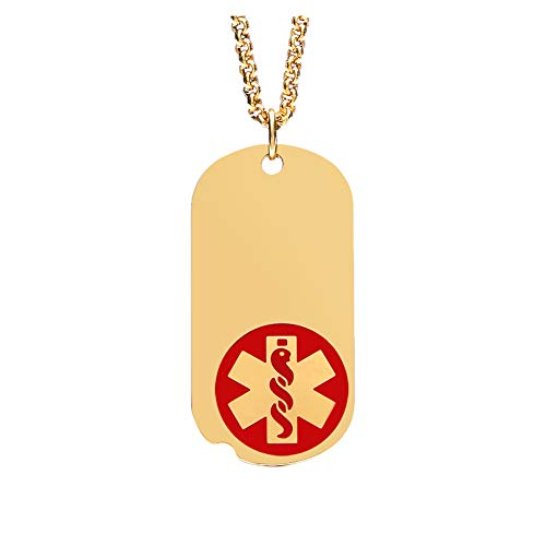 Gold-Plated Stainless Steel Medical Alert ID Pendant Necklace for Men and Women 24 inch Free - Medical Bracelets Id American