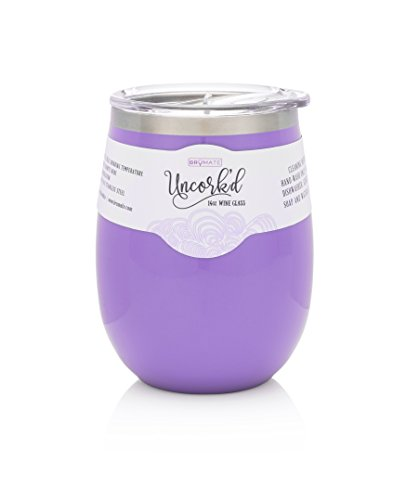 BrüMate Uncorkd XL 14oz Wine Glass Tumbler With Splash-proof Lid - Made With Vacuum Insulated Stainless Steel (Violet)