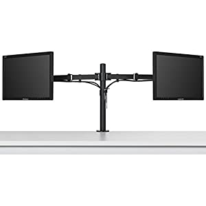 Ollieroo Dual LCD LED Monitor Desk Mount Stand Heavy Duty Fully Adjustable fits 2 / Two Screens up to 27""
