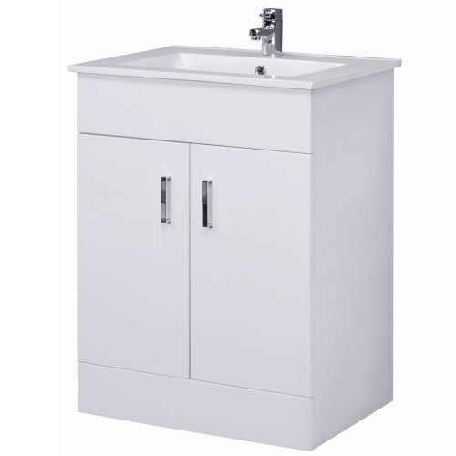 Bathroom Vanity Unit Basin White Cabinet Storage Furniture FREE Tap. 700 Vanity Unit with Basin for Bathroom Ensuite Cloakroom   Luxury