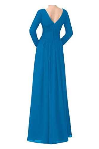 Angel Maxi Dress Mother Evening neck Blue Bride Bride Sleeve Long Chiffon Dresses V Simple prpqY