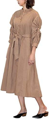 [1/2 style] Loose Elegant Feminine Long Sleeve Gathered Dress Women's