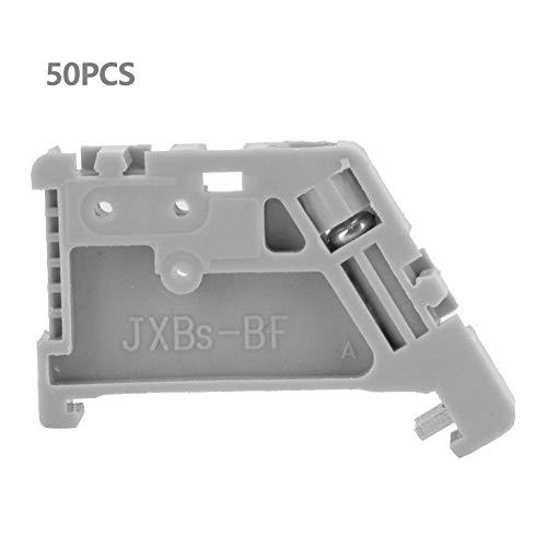 50pcs 35mm DIN Rail Terminal Block End Stopper Mounting Clips Gray Guide Rail Clip(13)
