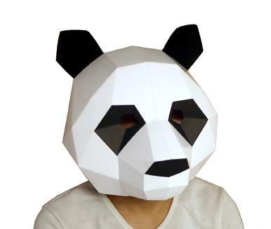 YIPU DIY Cool Mask Cosplay Costume Panda Adult Children Cardboard Breathable Halloween Party Decortion Party Tricky Funny -