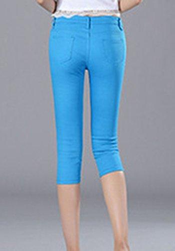 3 Estate Corta 4 Donna Fit A Unita Slim Matita Jeans 1 Vita Blu Pantaloni Tinta Bassa Bwqw8Tv