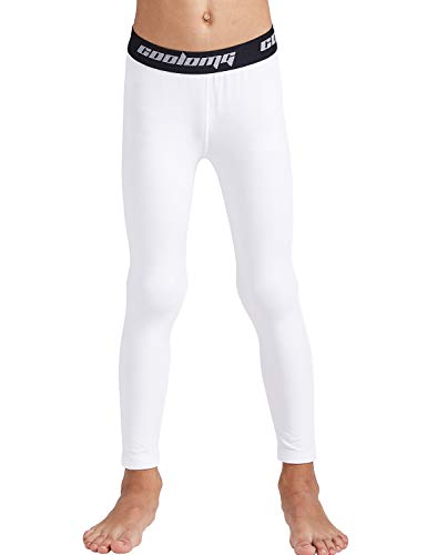 - COOLOMG Boys Girls Thermal Compression Pants Base Layer Tights Sports Fitness Running (White (only Pants), Small)