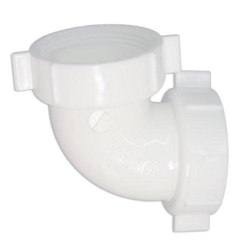 - LASCO 03-4863 PVC Slip Joint Reverse Nut 90-Degree Elbow, 1 1/2-Inch, White