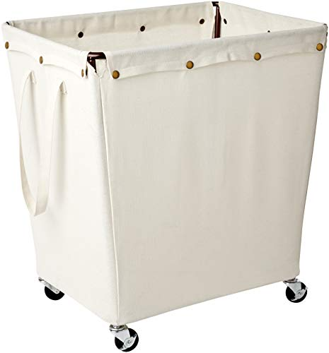 Homz Heavy Duty Industrial Style Laundry Hamper, Casters, Khaki Canvas Liner, 5 Load ()