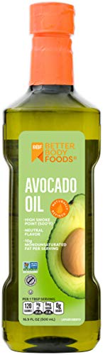 BetterBody Foods 100% Pure Avocado Oil Naturally Refined Cooking Oil Non-GMO 16.9 Ounce Keto & Paleo