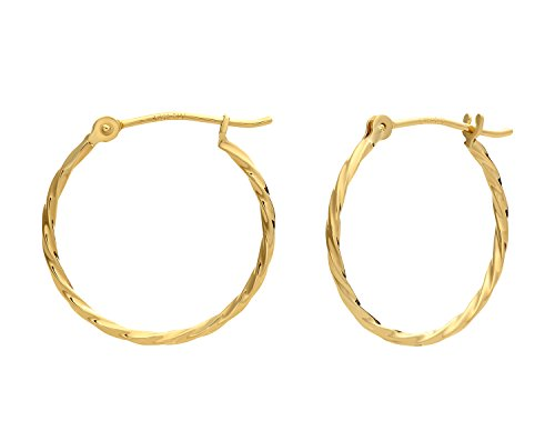 (14k Yellow Gold Twisted Round Hoop Earrings (18mm))