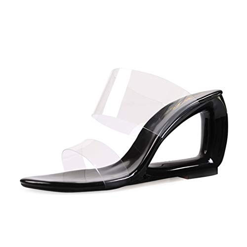 wetkiss Women Slides Sandals Wedge Slippers Shoes Transparent PVC Shoes Clear Slides Sandals Black