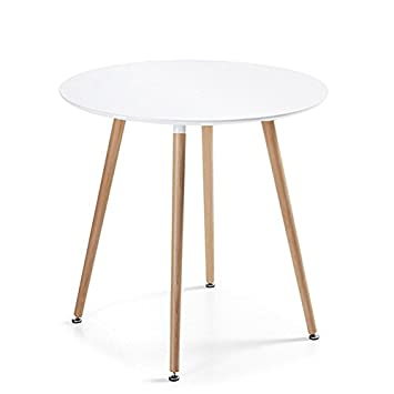 Table à manger ronde scandinave blanche 100cm - Alta: Amazon.fr ...