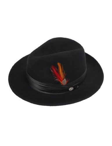 New Mens 100% Wool Black Untouchable Style Fedora Homburg Hat