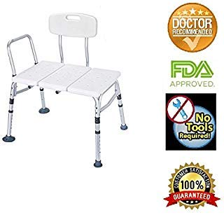 HEALTHLINE Tub Transfer Bench Lightweight Medical Bath Shower Chair with Back Non-Slip Seat, Adjustable Height Bathtub Transfer Bench for Elderly and Disabled, White