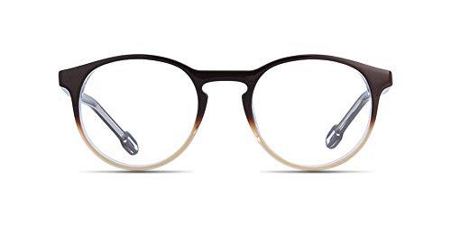 Prescription Reading Glasses, Eyeglasses Customized Rx Single Vision Multifocal Progressive FDA Approved Lenses - Anti-Glare/Digital Block Coating - Brown Metal Full Rim Round Frame for Men Women