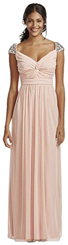 Rhinestone Beaded Cap Sleeve Floor Length Dress Style 8420NS6D, Blush, 16