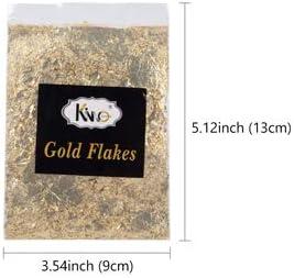 KINNO Imitation Gold Flocken Set Dekorfolie zum Basteln K/ünstlerbedarf zum Vergolden Malerei und DIY Kunsthandwerk Gold+Silber+Rot 1g Set+B/ürste+Pinzette