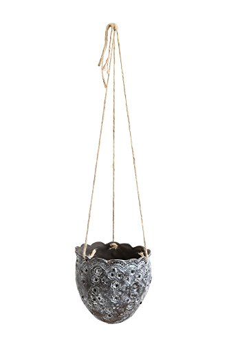 - Tribal Floral With Scallop Edge Dark Brown 7 x 7 Terracotta Hanging Planter