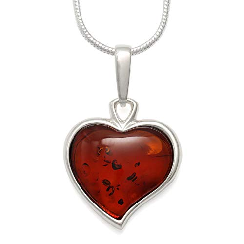 (925 Sterling Silver Heart Pendant Necklace with Genuine Natural Baltic Cognac Amber. Chain Included)