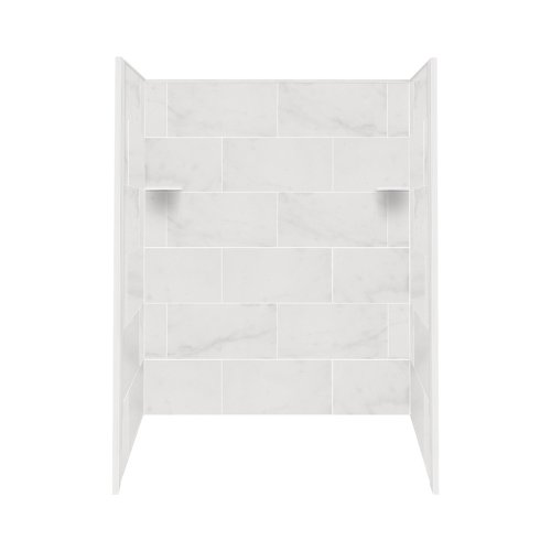Transolid RBE6026-91 Solid Surface Tub/Shower Wall Kit, 32-Inch x 60-Inch x 60-Inch, White Carrara ()
