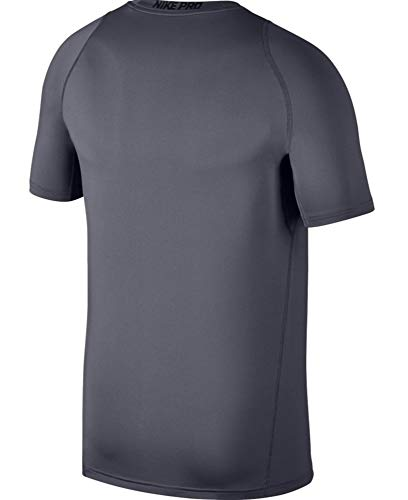 NIKE Men's Pro Fitted Short Sleeve Shirt, Black/Dark Grey/White, Small