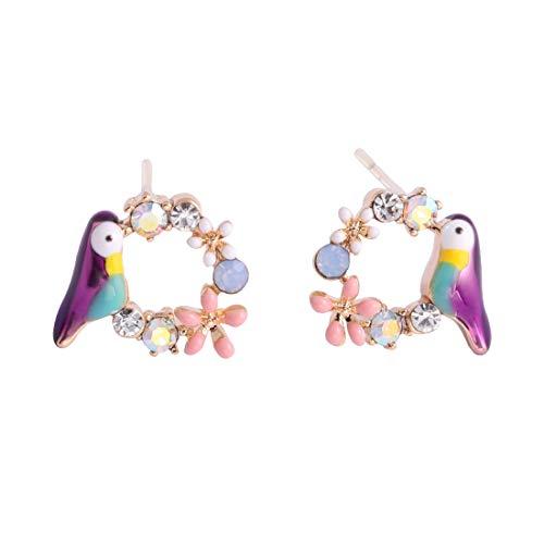 JUICY GRAPE 14K Gold Plated Enamel Bird Flower Stud Earrings for Women