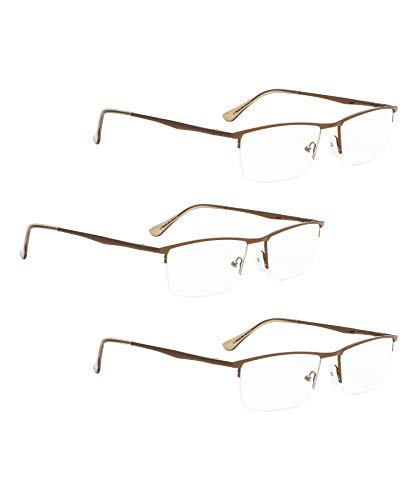 (READING GLASSES 3 pack Half-Rim Metal Readers (Brown, 2.00) )