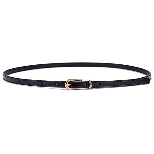 Womens Adjustable Stretch Leather Belt Womens Skinny Leather Belt Solid Color Pin Buckle Simple Waist Belts (Color : ()