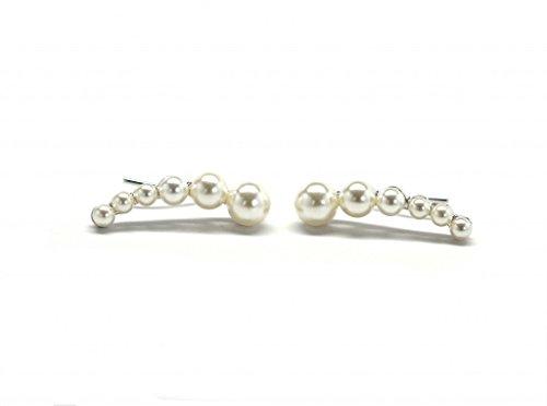 Miss Mozart Faux Pearl Ear Crawler Earrings Rhodium Plated ()
