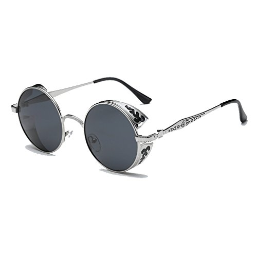 LOMOL Retro Trendy Cool Steampunk Flip Lens UV Protection Polarized Round Sunglasses For - Where Sunglasses I Sell Can Designer