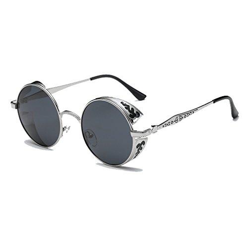 LOMOL Retro Trendy Cool Steampunk Flip Lens UV Protection Polarized Round Sunglasses For - Sunglasses Can Prescribed Be