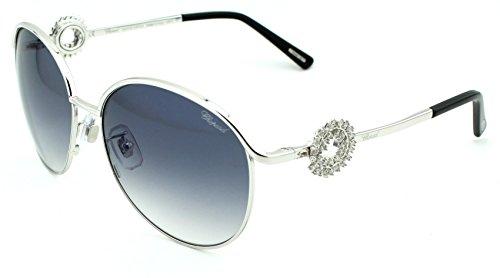 Chopard SCH 21S Women Aviator Sunglasses Special Edition 23KT (Silver Frame, Gradient Smoke Lens - Sunglasses Chopard