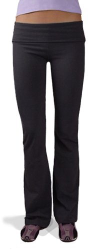 Hardtail Roll Down Boot Leg Yoga Pants (Large, Black) -