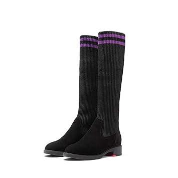 HYDONGX Botas Tacón Alto Calcetines Botas Gruesas con otoño e Invierno Zapatos de tacón elástico Deportes