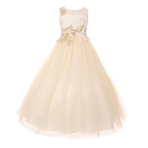 Little Girls Ivory Champagne Floral AB Rhinestone Adorned Flower Girl Dress 4 by Cinderella Couture
