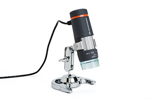 Celestron 44302 Deluxe Handheld Digital USB Microscope and Stand with Built in 2MP Camera for Capture of Video and Images, for viewing Stamps, Coins, Bugs and more ()