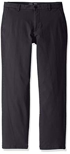 IZOD Men's Saltwater Stretch Flat Front Straight Fit Chino Pant, Asphalt, 32W x 32L