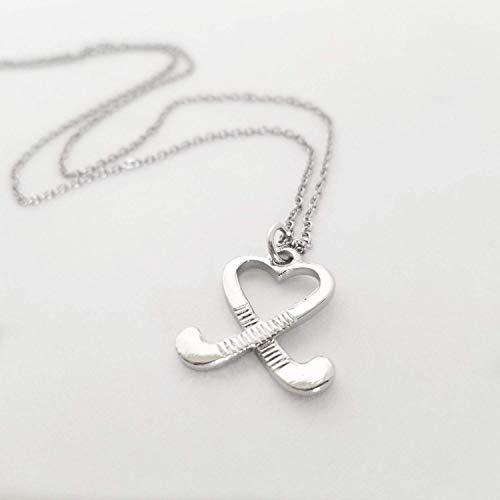 Field Hockey Sticks Charm Necklace Silver Jewelry