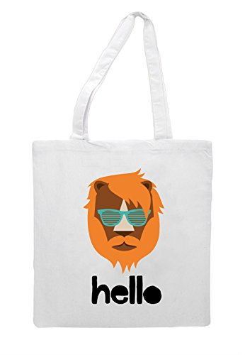 Shopper Style Bag Hipster Animal Quote Hello Tote Lion White Vintage Character EqzRR4