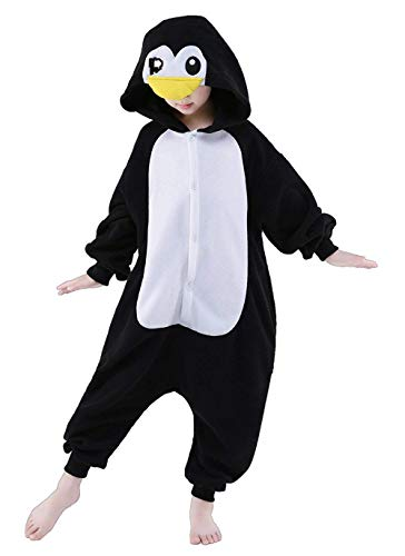 AGoGo Women's Sleepwear Halloween Unisex Children Kids Party Children Cosplay Pyjamas Christmas Costume (85#,Black Penguin)