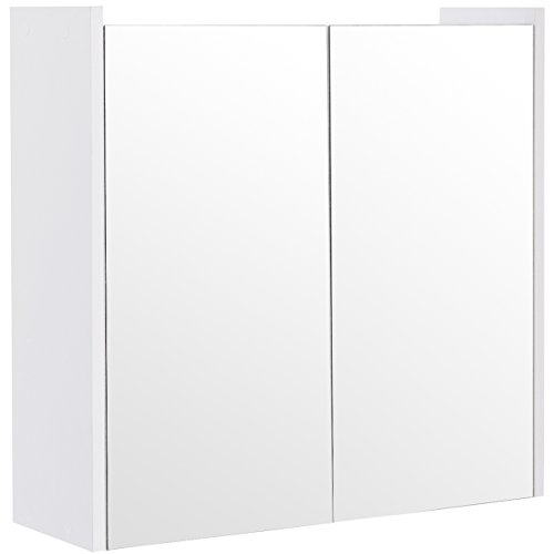 (Tangkula Mirrored Bathroom Cabinet Wall Mount Storage Organizer Medicine Cabinet with Double Doors White(25