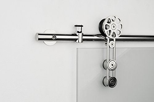 Contemporary Stainless Steel Sliding Barn Door Hardware for Glass Doors / Polished Chrome Finish - Spinner - GF Series (6 Feet Rail Length) Sliding Door Lock Series