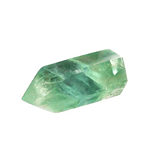 Green Fluorite Healing Crystal Wand, Pointed & Faceted for Reiki Chakra Meditation Therapy Decor