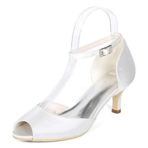 Peep Donne Tacchi Pompe Toe White Caviglia Seraph Cinturino Da Alla 10 Sposa Y1195 Mid Prom Raso Scarpe wa0q7BWIE