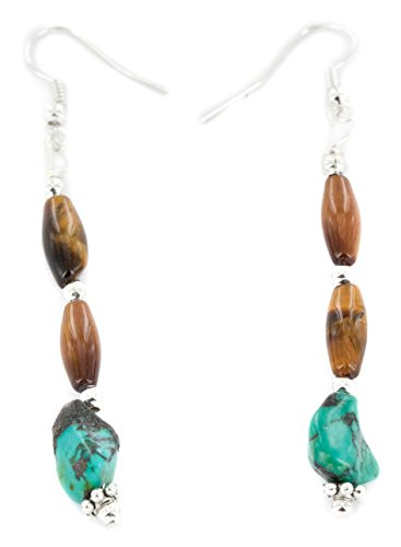 Native-Bay Authentic Made by Charlene Little Navajo Silver Hooks Dangle Natural Turquoise Tigers Eye American Earrings
