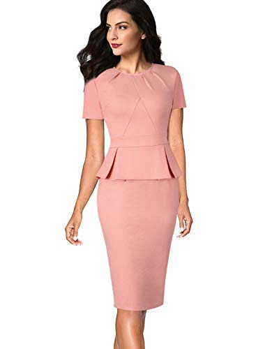 (VFSHOW Womens Pleated Crew Neck Peplum Work Business Office Sheath Dress 532 PIK S Pink)