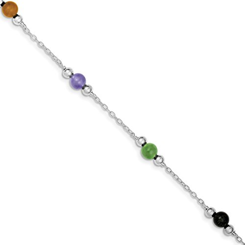ICE CARATS 925 Sterling Silver 9 Inch Multi Color Jade Anklet Ankle Beach Chain Bracelet Fine Jewelry Ideal Mothers Day Gifts For Mom Women Gift Set From Heart - Jade Elephant Charm