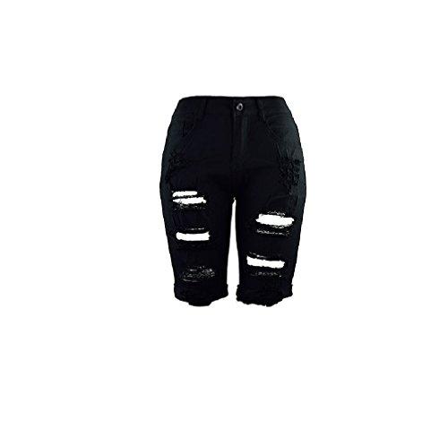 FuweiEncore Skinny Pantalons Zip Jeans Jeans Taille Jeans Jeans Skinny Jeans Haute d't Hipster Noir Jeans avec Trous r5wU1rX